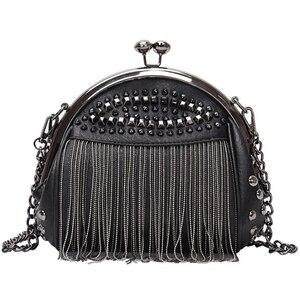Luxury Handbags Women Bags Designer Punk Style Chains Shoulder Bag Ladies Small Rivet Tassel Cross Body Bag