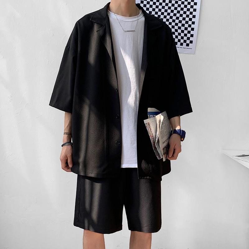 Korean Style Men's Set Suit Jacket and Shorts Solid Thin Short Sleeve Single Pocket Knee-Length Summer Oversized Clothing Man