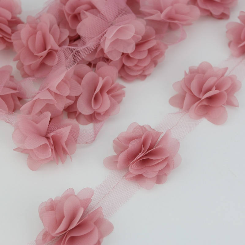 (120 шт./лот) Розовый Лепесток шифон кружева ткань тесьма украшения любовь подарок ленты ремесла ширина 50 мм