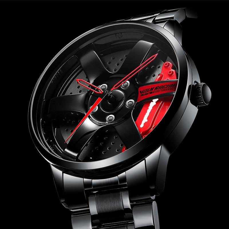 NEKTOM سيارة عجلة ريم محور ساعة تصميم مخصص سوبر إطار سيارة الساعات مقاوم للماء الساعات الإبداعية للرجال Relogio Masculino