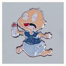 Crying Baby Flash Cartoon Brooch Metal Enamel Lapel Badge Collect Denim Jacket Backpack Pin Decorati