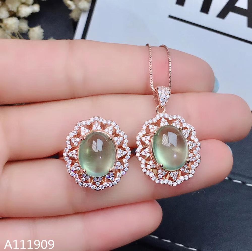 KJJEAXCMY joyería de boutique 925 Plata de Ley incrustada Natural Prehnite anillo colgante collar femenino traje de detección