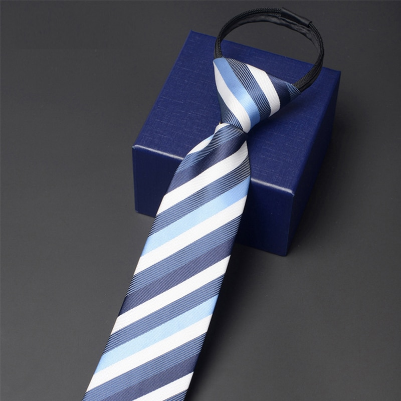 Men Fashion 7CM Zipper Tie 2020 Brand New High Quality Business Work Neck Tie for Men Classical  Striped Necktie With Gift Box