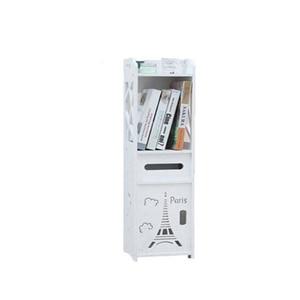 Bathroom Cabinet Floor-Standing Bathroom Toilet Furniture Cabinet White Wood-Plastic Board Cupboard Shelf Tissue Storage Rack