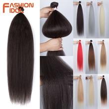 FASHION IDOL-mechones de pelo lacio y rizado sintético, extensiones de pelo rubio ondulado, 36 pulgadas, Yaki, envío gratis