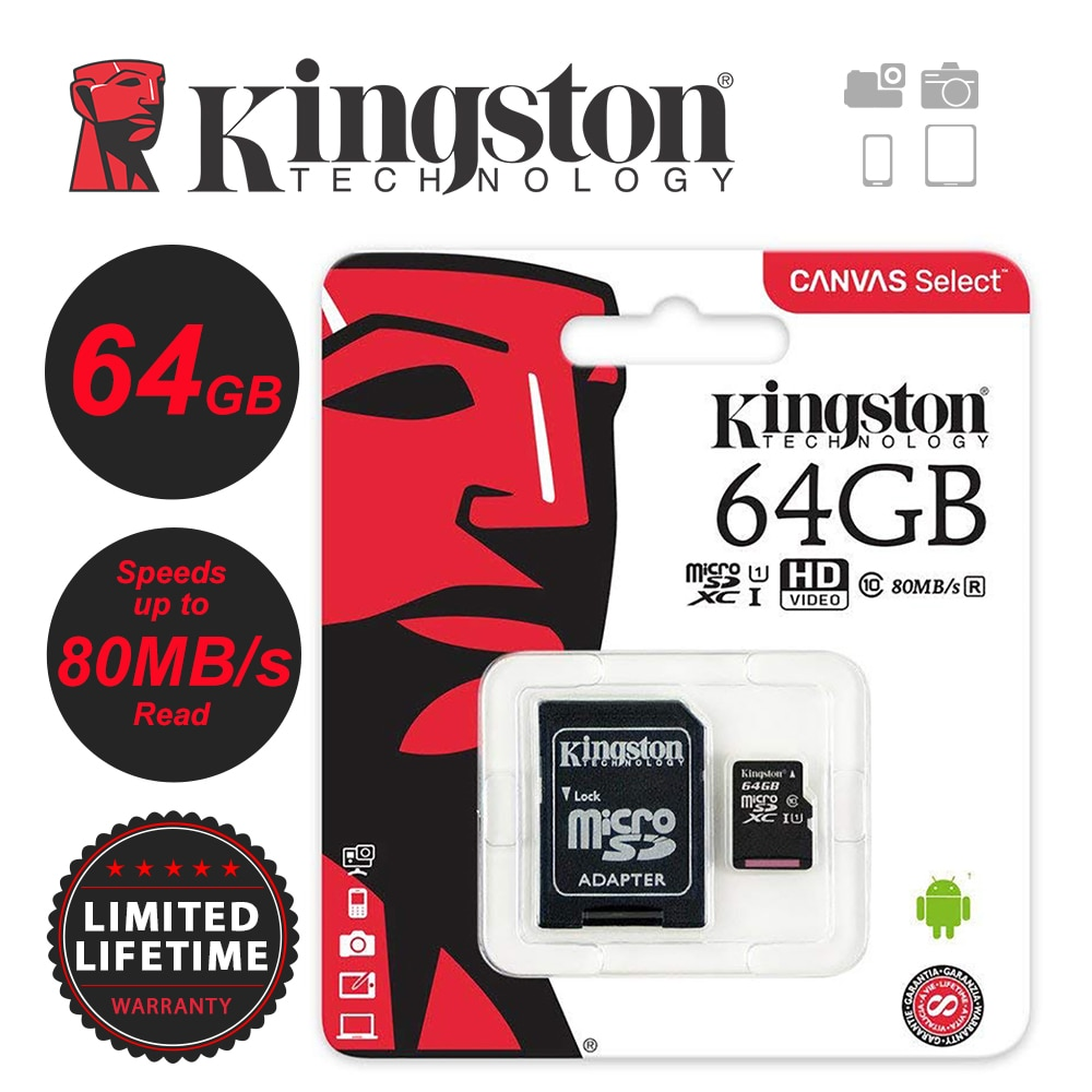 Kingston 256GB 128GB 64GB 32GB 16GB 8GB 4GB Micro SD SDHC/SDXC Class10 TF tarjeta de memoria de hasta 80 MB/S R con Adaptador SD