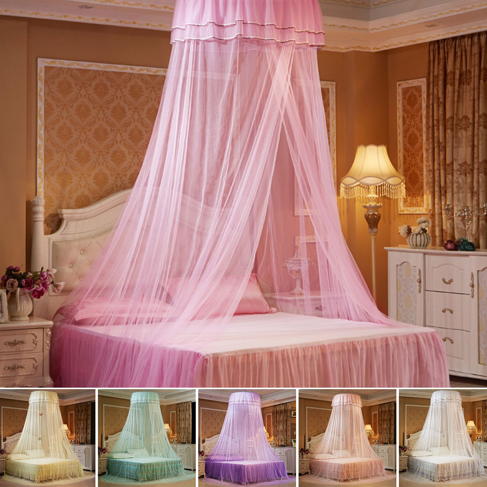 Dosel redondo para camas, mosquitera montada en el techo, instalación gratuita, dosel plegable para cama con gancho, cortina para cama de princesa D30