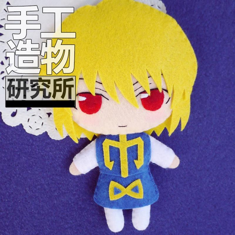 Anime HUNTER×HUNTER Kurapika 12cm llavero hecho a mano maternal juguetes de paquete Mini muñeca peluche #4264 regalo de cumpleaños para niños