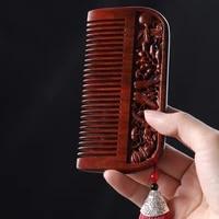 plant pattern printing carving sandalwood comb hairdressing massage personal care modeling rhinoceros horn red sandalwood comb