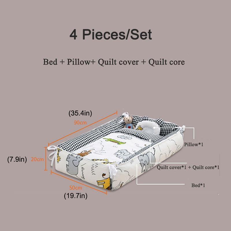 Babyinner 4 Pcs/Set Portable Baby Crib Removable Adjustable Bed Nest Cotton Folding Infant Toddler Cradle Bassinet Room Decor enlarge