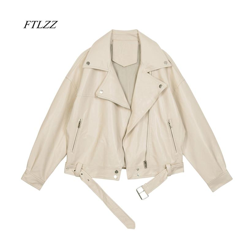 FTLZZ-جاكيت نسائي من جلد البولي يوريثان للدراجات النارية ، جاكيت ربيعي ، لون خالص ، فضفاض ، غير رسمي ، 2021