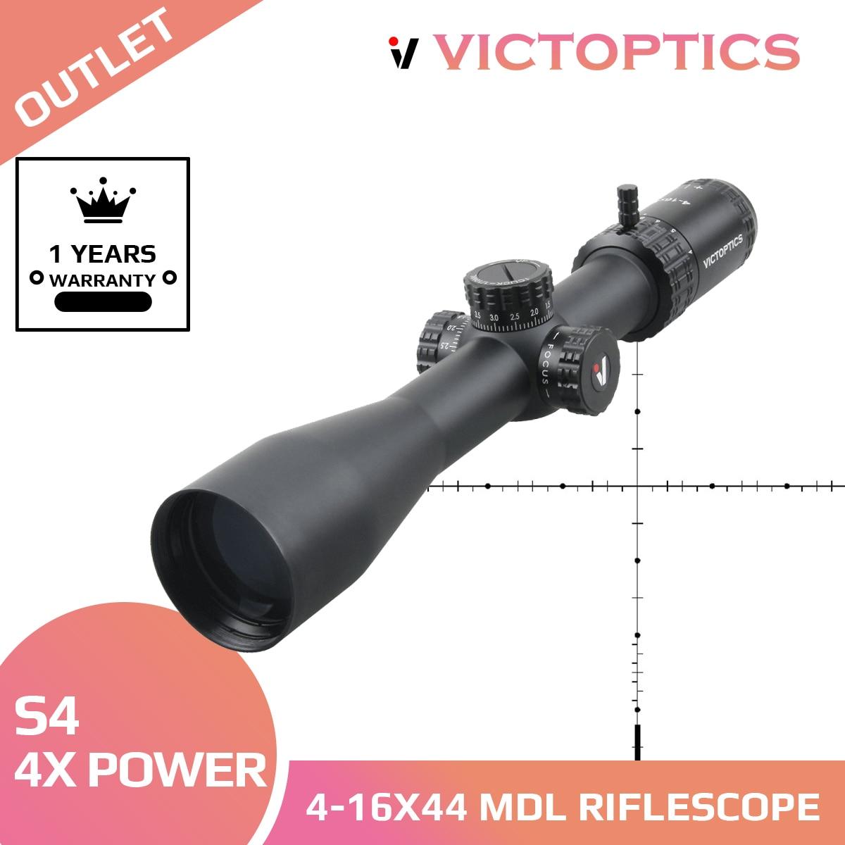 منظار بندقية تكتيكية من VictOptics S4 4-16X44 MDL Airsoft للصيد بنطاقات معلقة من الزجاج المحفور لـ. 223 5.56 AR15