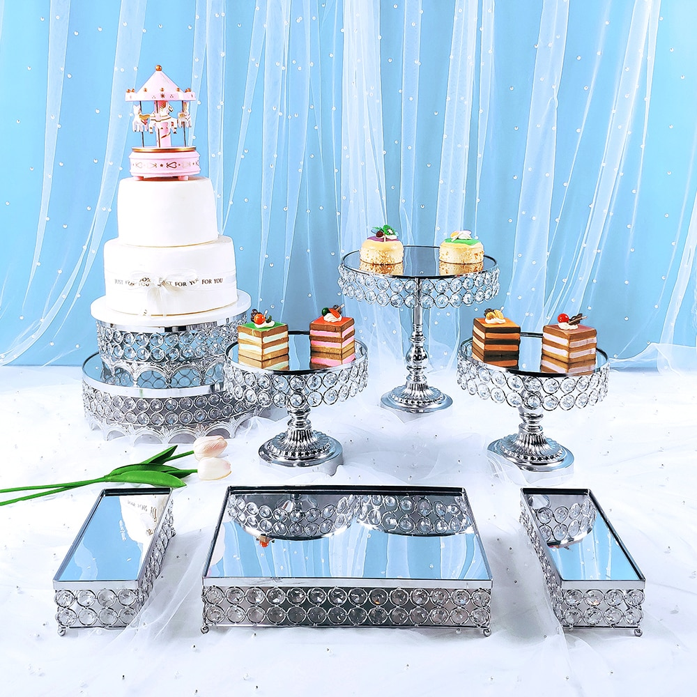 8 قطعة الاكريليك الفضة مرآة حامل كيك معدني مستديرة حفل زفاف عيد ميلاد الحلوى كب كيك الركيزة عرض لوحة ديكور المنزل