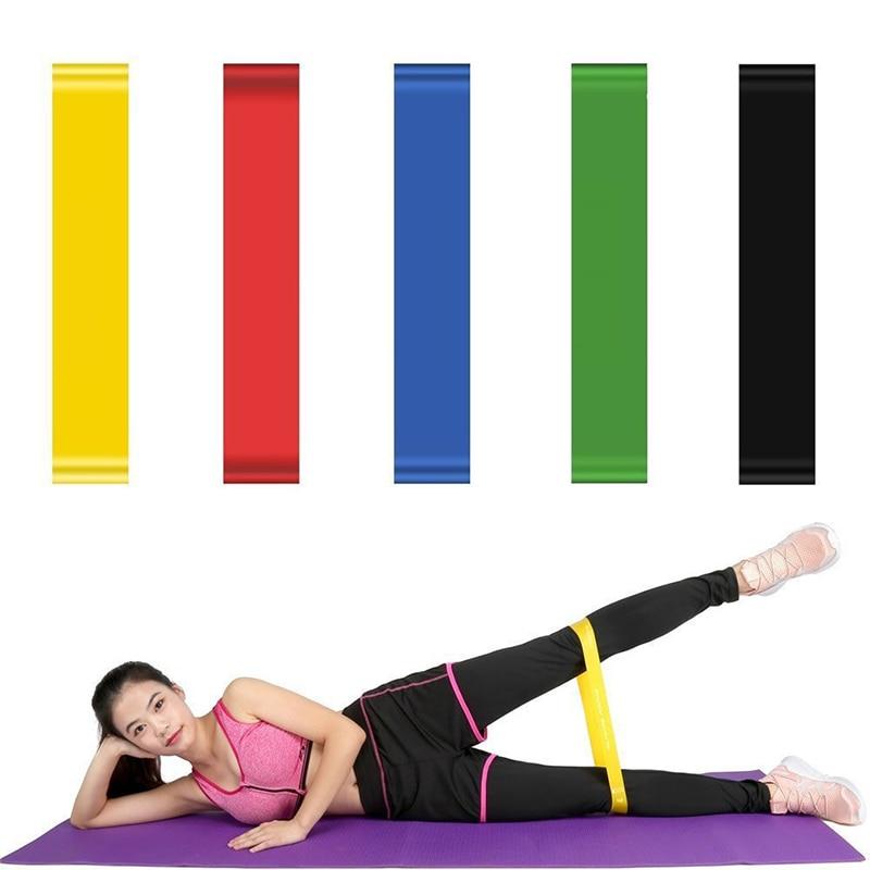 Bandas de Borracha Equipamentos de Treinamento de Treino de Ginástica Elásticas para Esporte em Casa Fitness Yoga Resistência 0.35-1.1mm Pilates Bandas 5 Pçs