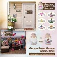 Gnome     panneau de porte de bienvenue  cintre de porte en bois  avec ornements  panneau de maison saisonniere  decor rustique de ferme