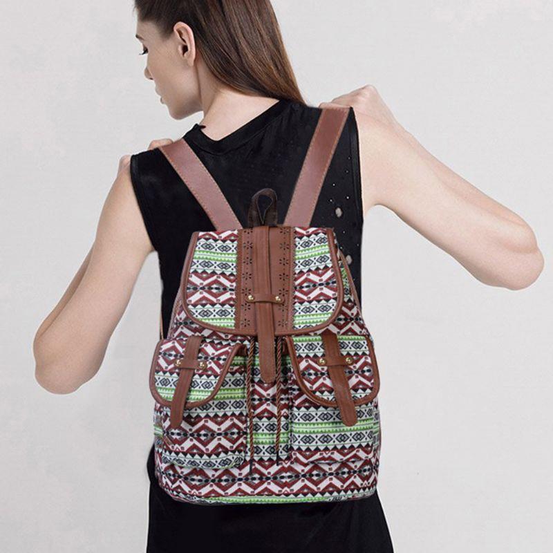 High Quality Backpack Vintage Print Canvas Ethnic Bagpack for Women Girls School Backpacks Drawstring Bohemia Travel Rucksack