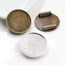 10 pièces 25mm taille intérieure Antique argent plaqué carré Cabochon Base camée réglage pendentif à breloques pour Bracelet en cuir 10 mm