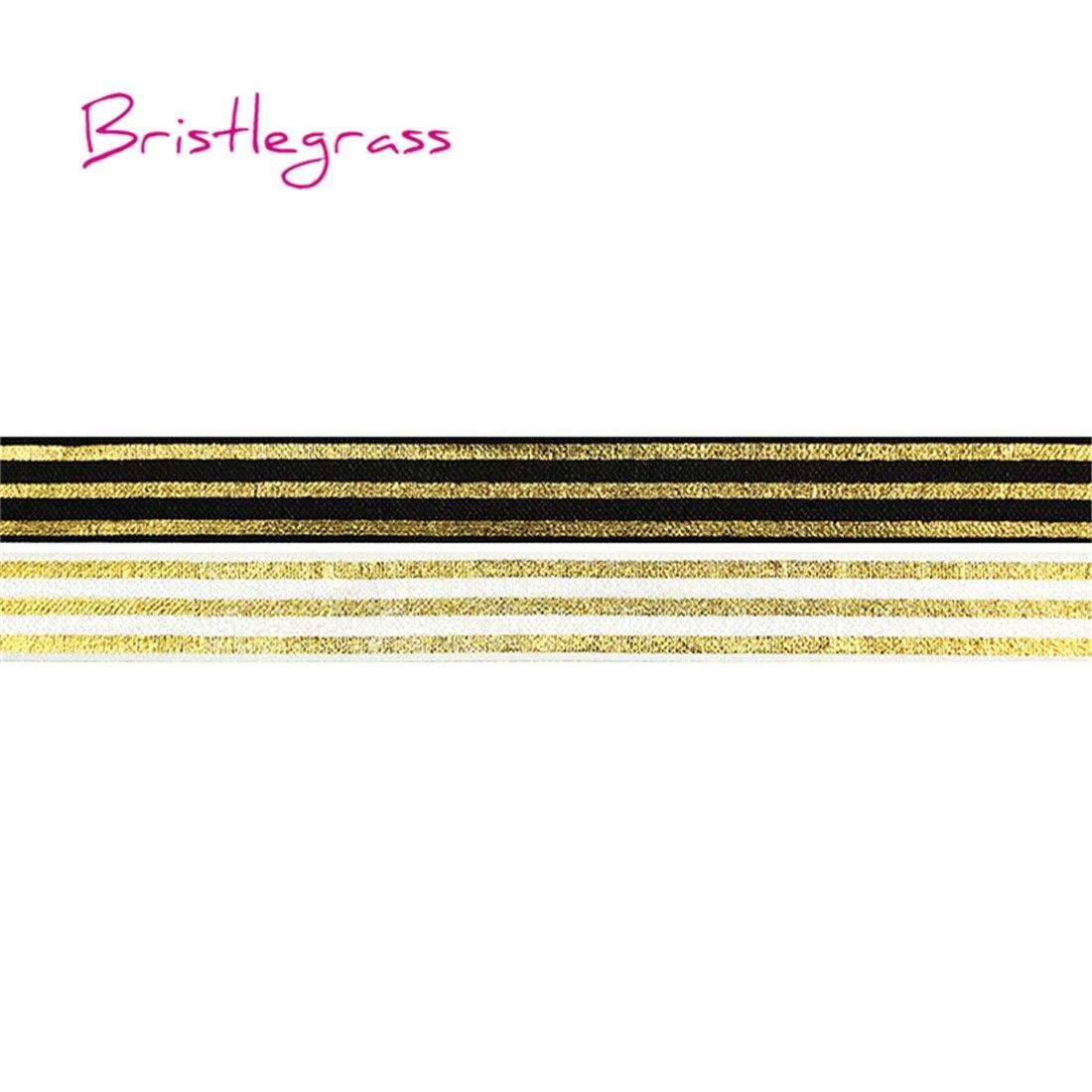 "BRISTLEGRASS 5 Yard 5/8"" 15mm Gold Line Stripe Foil Print Shiny Fold Over Elastics FOE Spandex Satin Band Tutu Dress Sewing Trim"