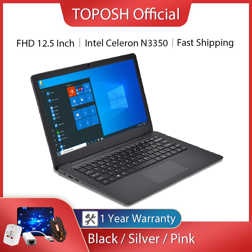 12.5 بوصة N3350 سليم كمبيوتر محمول صغير 4G RAM 64G SSD Ultrabook الأعمال مكتب دفتر كول الأسود نتبووك جهاز كمبيوتر محمول