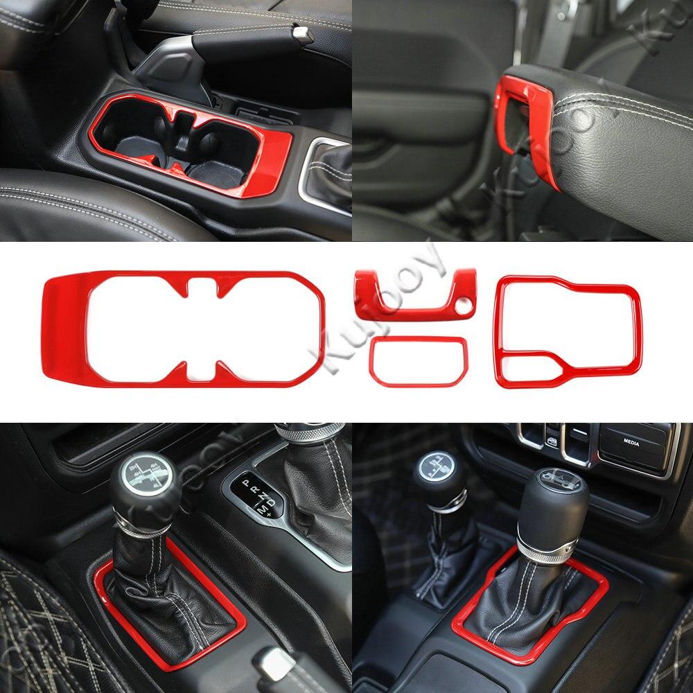 Four-wheel Drive / Gear Shift / Front Drain Cup Holder / Armrest Box Lock Decor Panel Trim for Jeep Wrangler JL 2018+