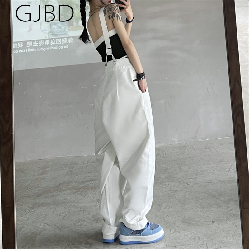 Women's Braces Jeans 2021 Summer New White Fashion Baggy High Waist Overalls Straight Pants Y2K Stre