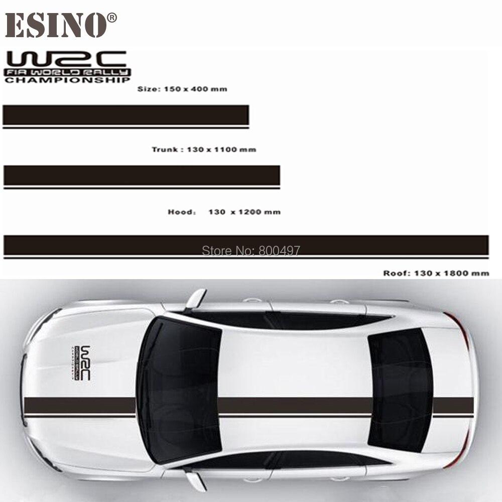 Novos acessórios do carro wrc fia campeonato mundial rally tarja conjunto capô do carro tronco vinil adesivo corrida rali esportes pvc decalque