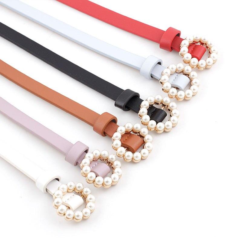 ¡Novedad de 2020! Cinturón de cuero de imitación para mujer, bonitos cinturones a la moda, hebilla de perlas, accesorios decorativos para vestido de chica bonita en blanco y negro rosa