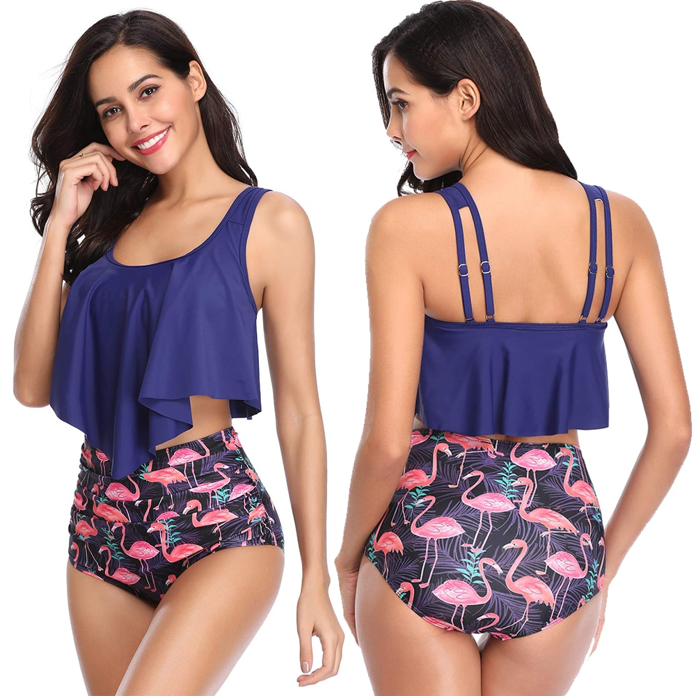 2019 Women Ruched High Waist Bikini Plus Size Swimwear Summer Swimsuit Flamingos Beach Bathing Suit Ruffle Mujer