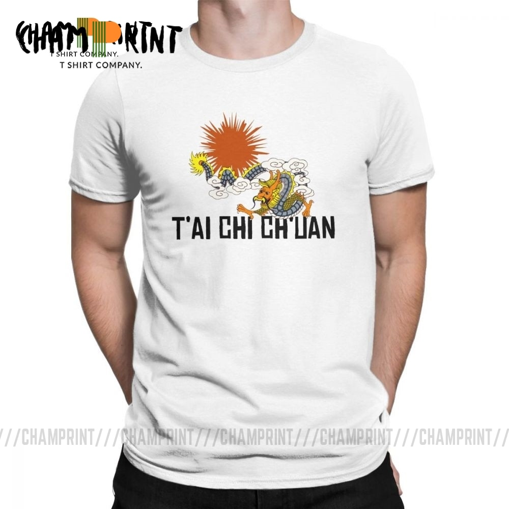 Мужская футболка Tai Chi Chuan Dragon, топы из чистого хлопка в хипстерском стиле, короткий рукав, круглая футболка, футболка, Подарок, Идея, футболка