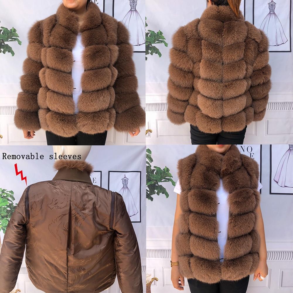 20 Natural fox fur coat with stand collar fox fur coat fur coat fur jackets natural fur  Removable sleeves fur vest fox fur vest фото
