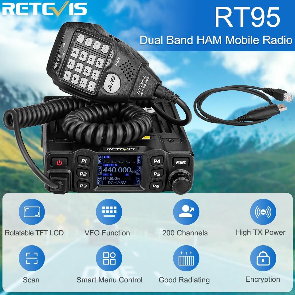 RETEVIS RT95 Car Two-Way Radio Station 200CH 25W High Power VHF UHF Mobile Radio Car Radio CHIRP Ham Mobile Radio Transceiver