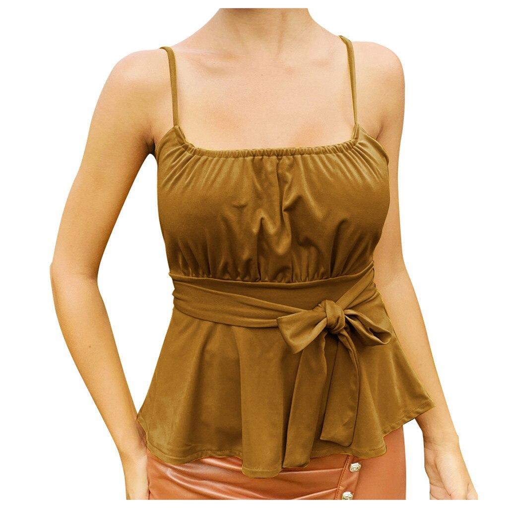 Spagetti Strap Tank Top Square Collar Summer Tie Up Bandage Tops Solid Sleeveless Top Verano Mujer Moda
