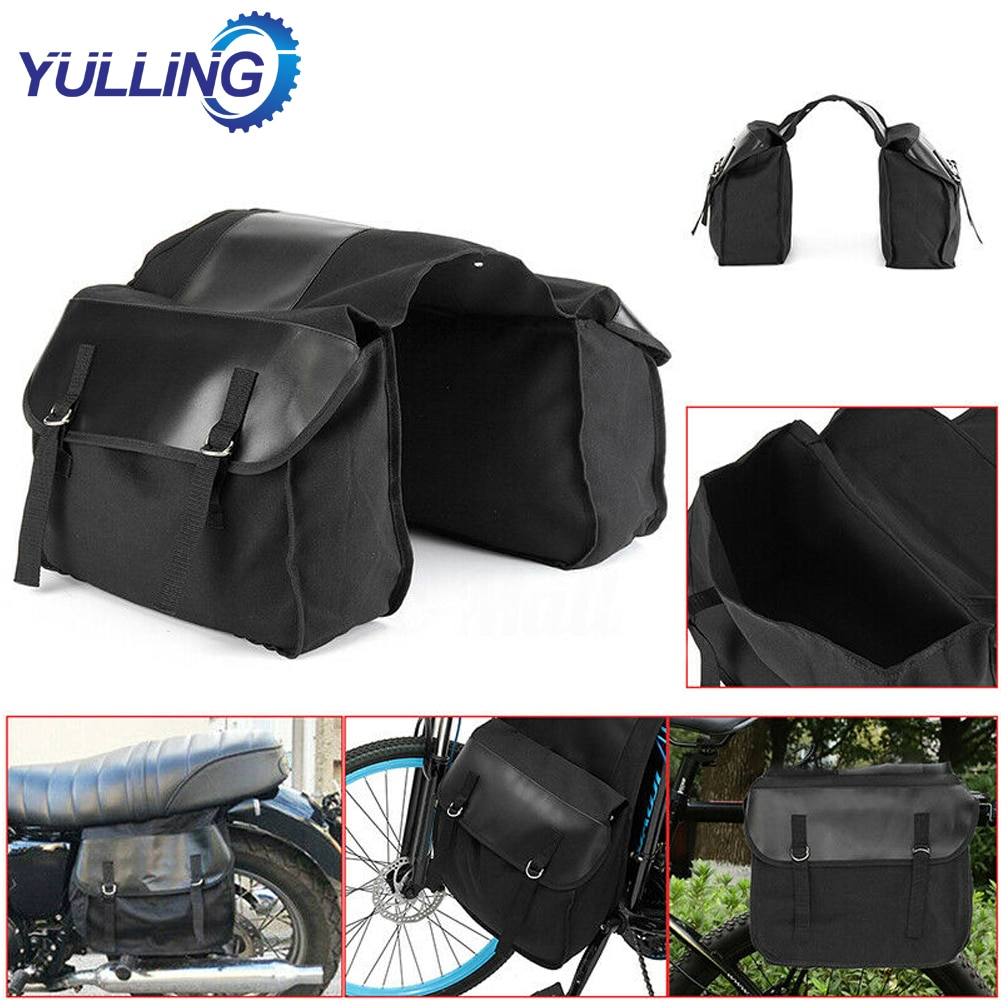 New Motorbike Cycling Saddle Bag Waterproof Motorcycle Canvas Panniers Box Bicycle Riding Back Seat Bags