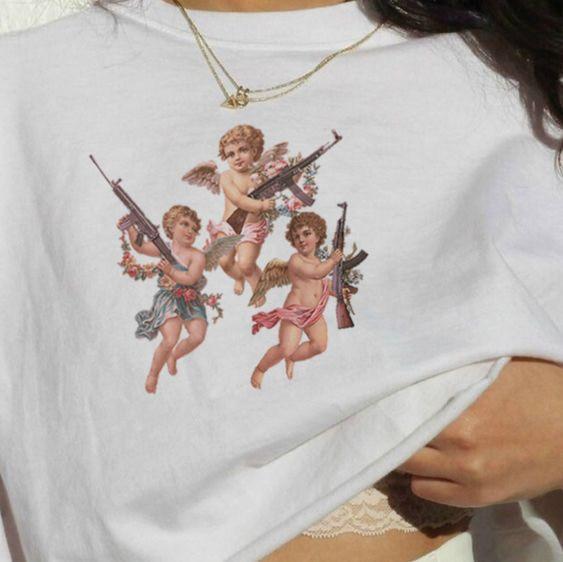 Camiseta de Ángel mujeres bebé grunge harajuku camiseta estética divertida ulzzang gráfico hip hop camiseta femenina ropa streetwear top