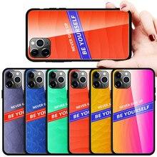 Funda de teléfono de cristal templado de colores para iPhone 11 Pro Max, funda para iPhone 6 6S 7 8 Plus XR XS Max SE2020