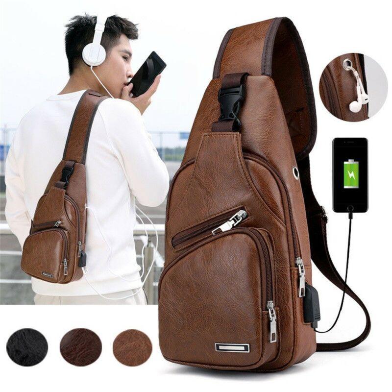 Мужская кожаная сумка на ремне, нагрудная сумка через плечо, Байкерская сумка, США