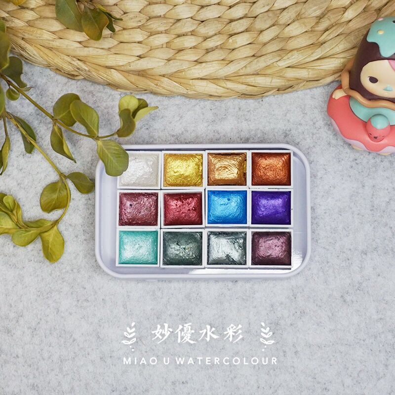 Juego de Acuarelas hechas a mano, 12 colores, pigmento de agua para...