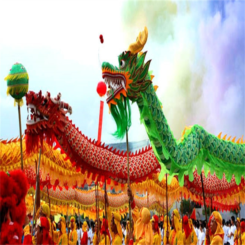 4m Length Dragon Dance Costume 4 Players 8-12 Age Children Student School Halloween Party Performance Parade Folk Stage  China