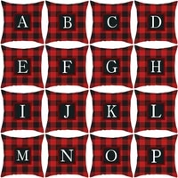 new arrivals red check creative letter christmas personalized pillow case car square cushion cover decorative living room sofa