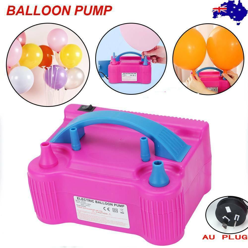 Bomba para inflar globos eléctrica 220-240/110V, enchufe de CA, doble boquilla de orificio, compresor de aire, soplador de bomba de globo eléctrico inflable