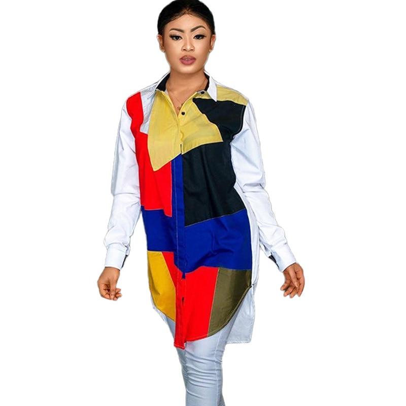 Patchwork Contrast Color Long Sleeve Shirt Dress Women 2020 Turn Down Collar Button Asymmetrical Shirt Dress Casual Autumn Dress contrast tied bell cuff and collar plaid dress