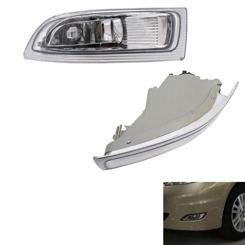 Abs lente clara 2 pces carro 2 pinos direita + esquerda luz de nevoeiro da frente com lâmpadas 81210-ae010 81220-ae010 para toyota sienna 2004 2005