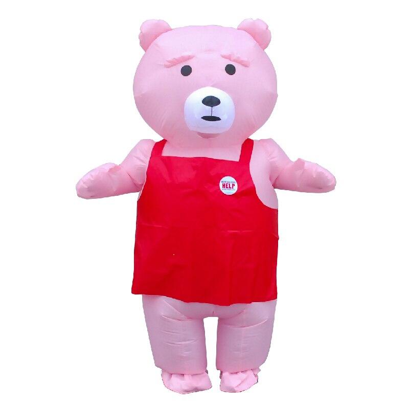 Presente de Aniversário Cosplay para o Dia das Bruxas Cor-de-rosa Urso Inflável Traje Adulto Feminino Corpo Inteiro Explodir Trajes