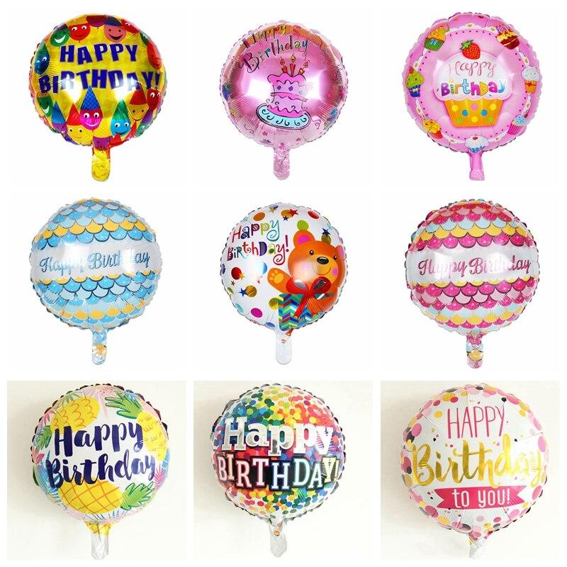 1pcs 18-inch Round Happy Birthday Balloons Birthday Party Decoration Toy Bear Cake Smile Rainbow  Balloons High Quality