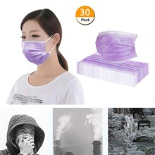 30pcs Purple Good Quality Disposable 3-ply Breathable Face Ma Sk For Lips Care Ear Loops Disposable