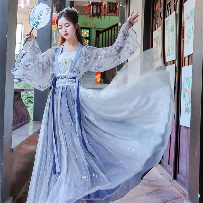 Волшебный Древний китайский костюм для женщин Hanfu платье Дворцовая вышивка традиционная одежда для девочек косплей народный длинный халат ...