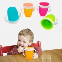 360 degrees leakproof magic kids water feeding bottle rotated baby learning drinking plastic cup with double handle flip lid