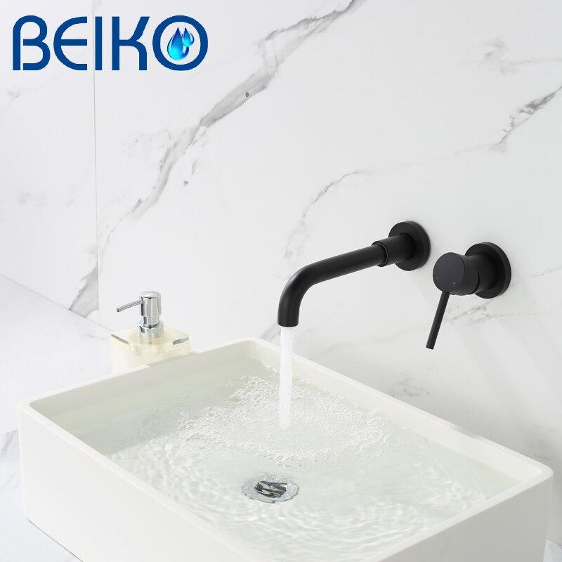 ماتي الأسود حوض استحمام للاستخدام في الحمام صنبور تيار رذاذ الحائط Soild النحاس حوض غسيل بالوعة خلاط حوض الاستحمام صنبور