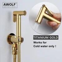 shiny titanium gold handheld toilet bidet sprayer solid brass polishing bathroom shattaf douche kit shower bidet faucet ap2277