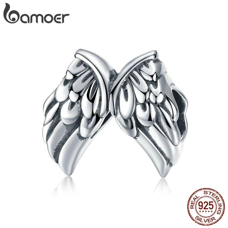 BAMOER auténtica Plata de Ley 925 alas de Ángel Vintage plumas dijes de cuentas para mujeres pulseras brazaletes joyería SCC1091